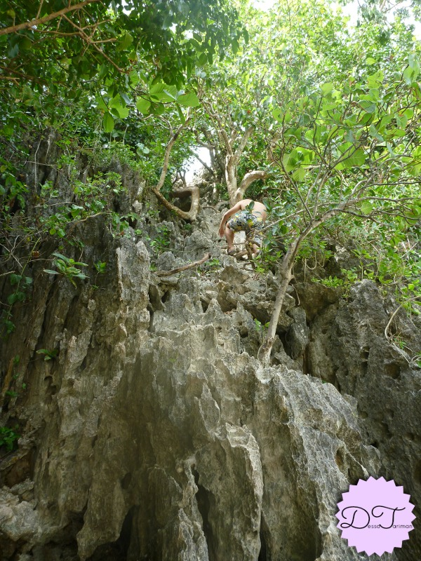 My brother rock-climbing to see the enchanted lagoon where a gigantic milkfish lives.