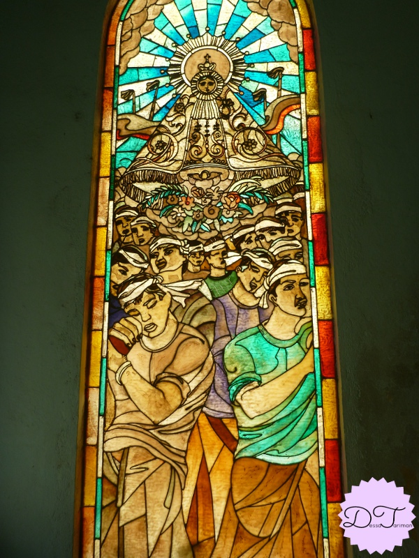 A stained glass window in Our Lady of Peñafrancia Shrine.